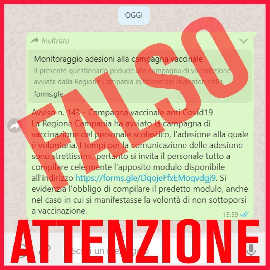 Fake news: falso invito a personale scolastico per vaccinazione