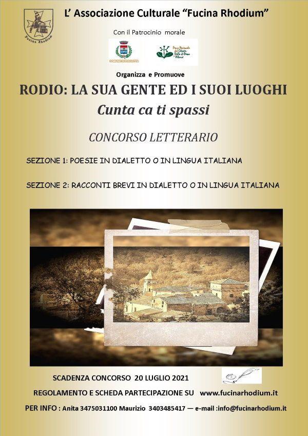 """03052021 locandina concorso letterario - Pisciotta, concorso letterario """"Rodio: la sua gente e i suoi luoghi. Cunta ca ti spassi"""""""