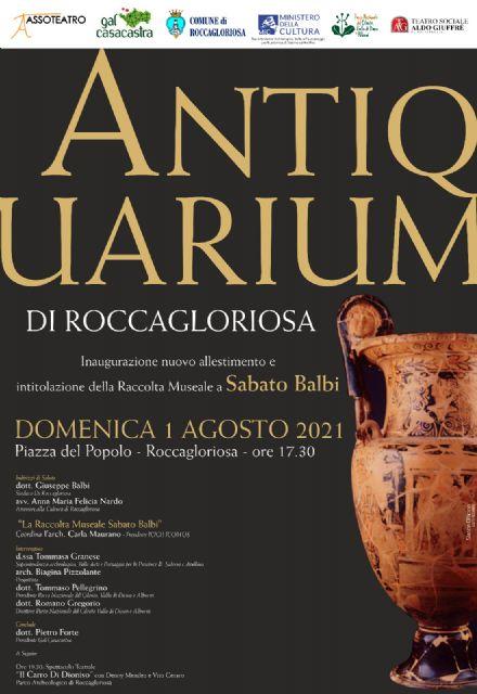 31072021 locandina roccagloriosa - Roccagloriosa, inaugurazione nuovo allestimento museale intitolato a Sabato Balbi