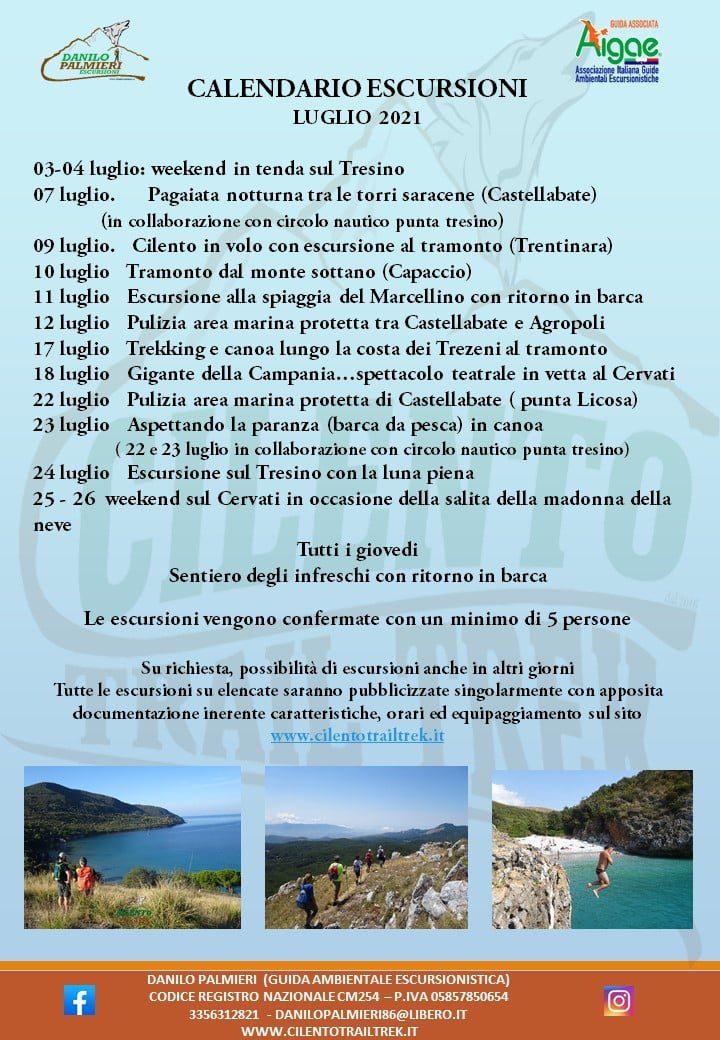 Cilento Trail Trek Calendario Escursioni Luglio 2021 Programma - Cilento Trail Trek - Prossime Escursioni