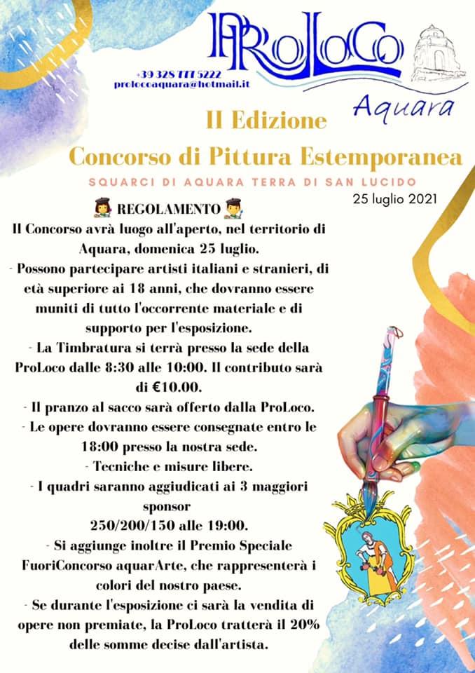 Concorso di Pittura Estemporanea 2021 Aquara Cilento seconda edizione Programma - Aquara, Concorso di Pittura Estemporanea - 25 Luglio 2021